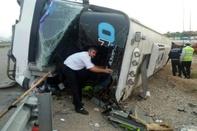 انحراف اتوبوس حامل ۴۵ زائر عراقی در کمربندی شاهرود