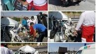 برخورد کامیونت ایسوزو، پراید و تریلی حادثه آفرید