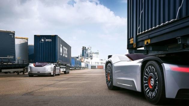 Volvo's autonomous Vera hauler parks up at port
