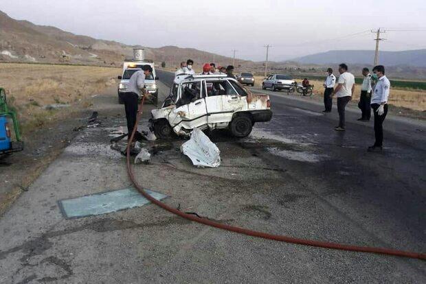 ۳ کشته و ۲ مجروح در تصادف نیسان با پراید در جاده پلدختر- دره شهر