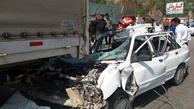 برخورد خودرو پراید با تریلر در فیروزکوه