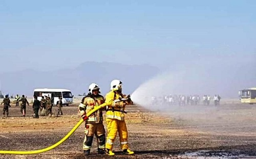 برگزاری مانور کامل طرح اضطراری در فرودگاه جیرفت