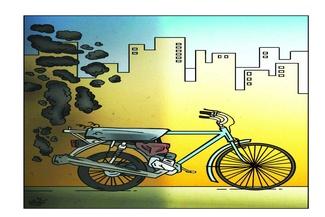 کاریکاتور/دوچرخه جایگزین وسایل نقلیه دودزا
