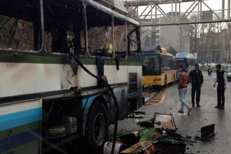 آتش سوزی اتوبوس در خیابان ولی عصر(عج)