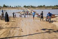 تخریپ پل ارتباطی به علت طغیان رودخانه - خوزستان