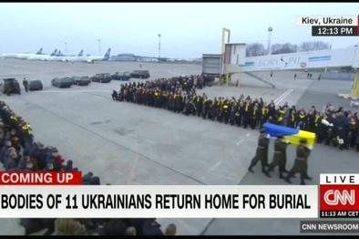 پیکر قربانیان سقوط هواپیمای اوکراین وارد کییف شد