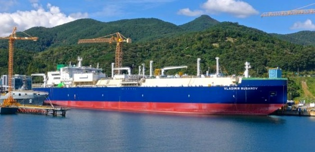 LNG carrier transports LNG to Asia through the Northern Sea Route