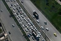 ترافیک در باند جنوبی آزاد راه کرج/ وضعیت جوی جاده ها