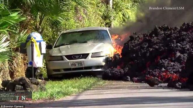 خودرویی که در مسیر گدازههای آتشفشانی ذوب شد + تصاویر