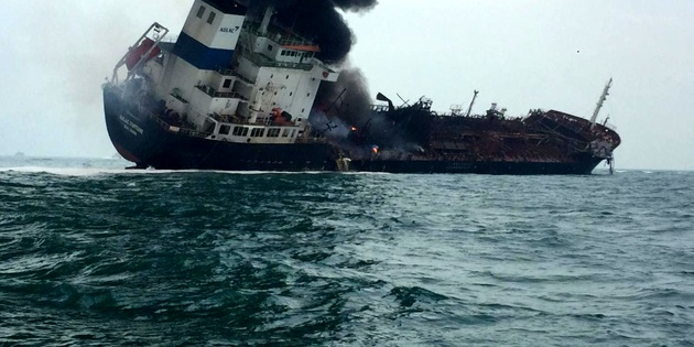 Oil tanker on fire in Hong Kong results to one dead, rescue continues