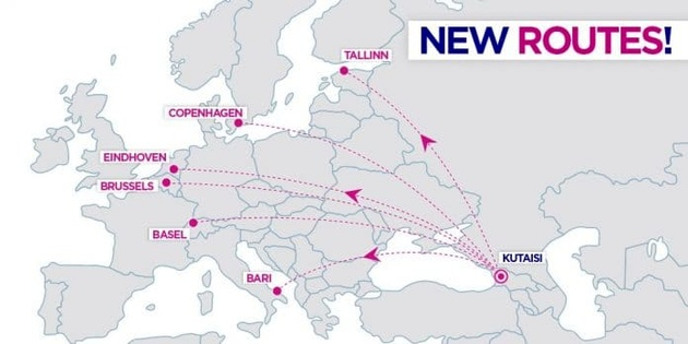 Wizz Air announces third aircraft and 6 new routes (incl. Charleroi & Eindhoven) at Kutaisi, Georgia