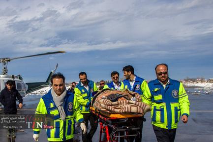 امدادرسانی اورژانس هوایی به مناطق برفی گیلان