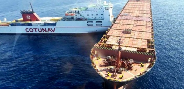 Container ship, ferry collide near Corsica