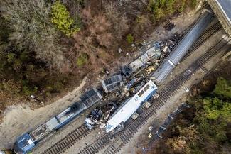 عکس/ واژگونی یک قطار مسافربری