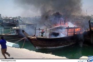 گزارش تصویری/ آتش سوزی در بندر صیادی کنگان - بوشهر