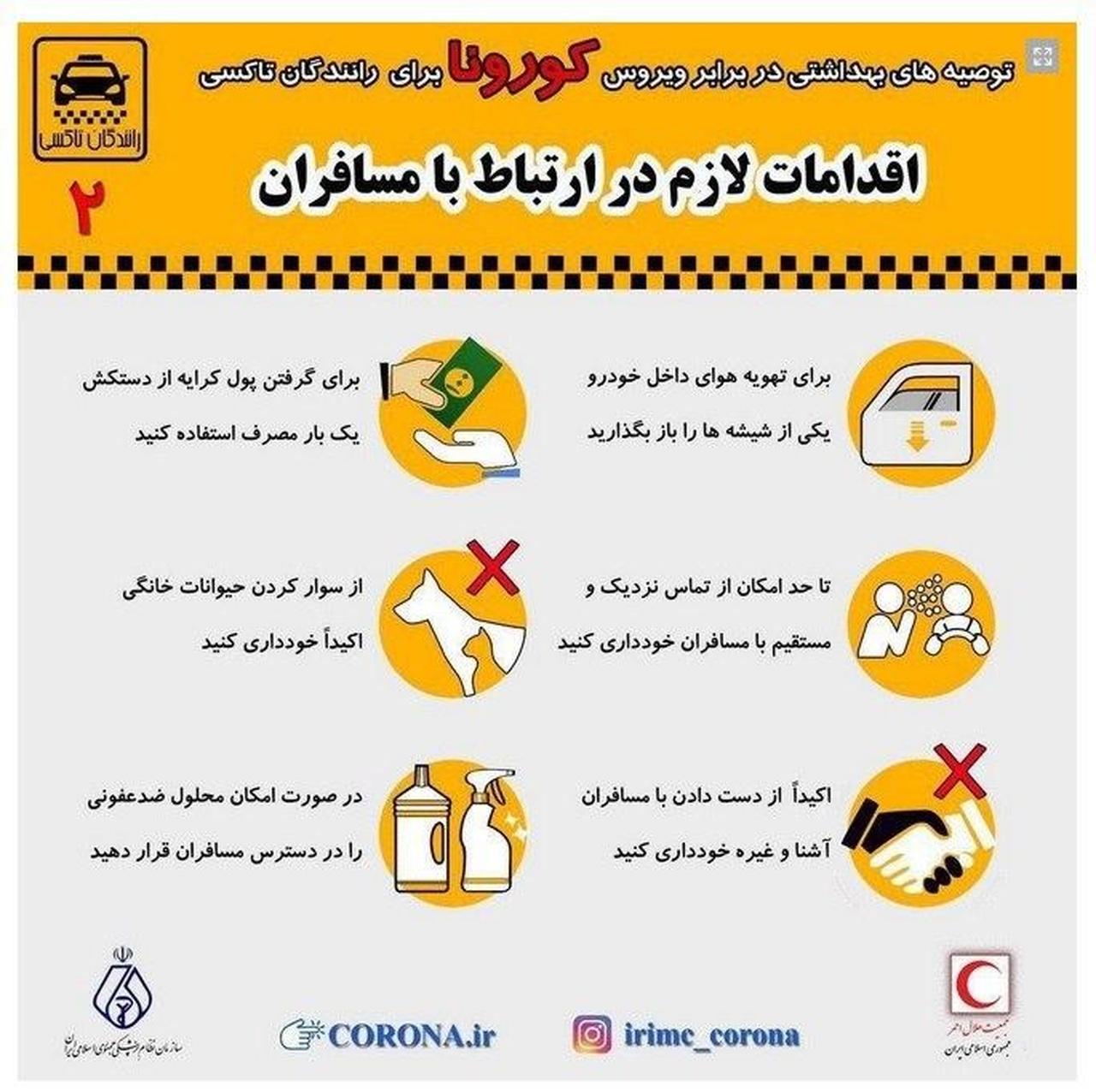 اقدامات لازم در ارتباط با مسافران